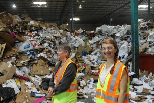 Diane Tasian and Laura Florescu touring the Balcones Resources recycling facility